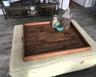 More Colors. Ottoman Tray Oversized Wooden Ottoman Tray Large Wooden  Ottoman Tray Square Coffee Table ...