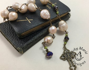 Large Catholic Heirloom Rosary, Wire Wrapped Fresh Water Pearls, Handcrafted Single Decade Bronze Rosary, Handcrafted, Heavy Rosary,