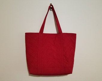 Tote Bag / Upcycled / Red / Herringbone / Quilted