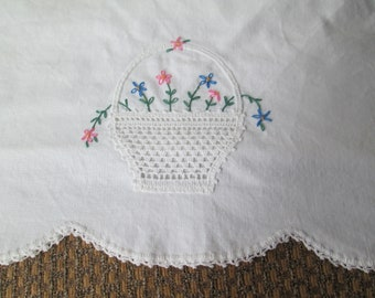 Vintage Hand Embroidered Pillowcase, Crocheted Flower Basket and Tatted Scallop Edge
