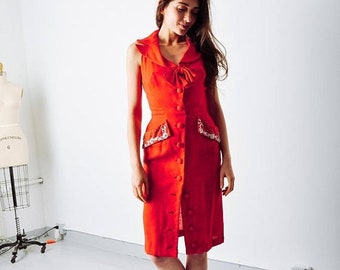 ON SALE - Vintage Red Linen Embellished Dress