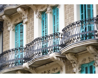 Barcelona, Spain, balconies, Spanish architecture, turquoise shutters, fine art photography, Spain home decor, Barcelona wall art print