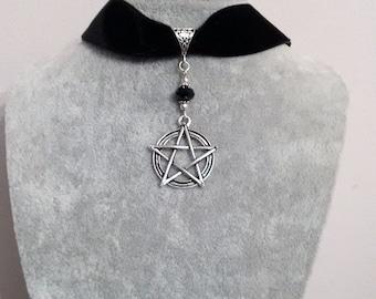 Pentagram Choker Necklace - Pentagram Choker  - Velvet Choker - Black Choker -