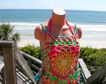 Crochet Bright Mandala Top, Beach Cover, Tank Top, small