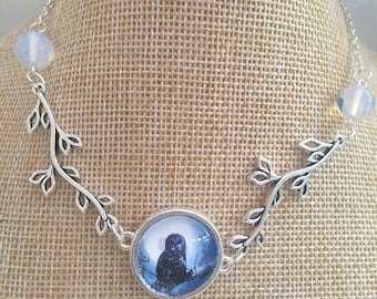 Owl necklace Pagan jewelry Opal necklace Owl jewelry Wiccan necklace Silver owl necklace Dainty necklace Owl jewellery Owl gift
