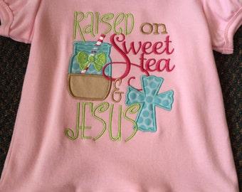 "Monogram ""Raised on Sweet Tea and Jesus"" Girls Ruffle Shirt""*****Please Read Shop Announcement*****"