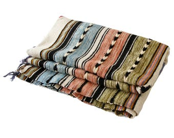 Handmade Wool Blanket, Tunisian Large Blanket, Handwoven Colorful Blanket, Natural Fibers Textile Home Decor, Abstract Pattern Wool Blanket