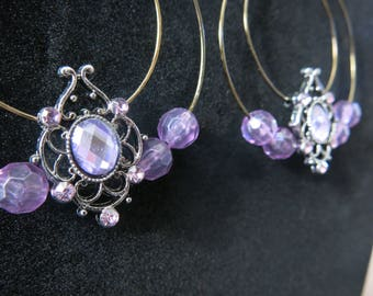 Purple beaded double hooped earrings
