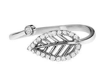 Diamond Leaf Ring, White Gold Leaf 14K White Gold