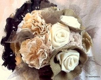 Rustic Burlap Bouquet, Fabric Bouquet, Bridal Bouquet, Wedding Bouquet, Burlap Bouquet, Burlap and Lace Bouquet, Vintage Bouquet