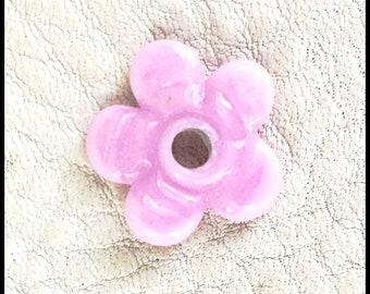 Pink Handmade Lampwork Violet Flower by MMB SRA #U5