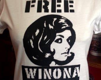 Original Free Winona Silk Screened Womens White T-Shirt