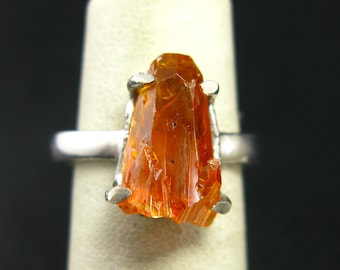 Zincite Fire Red Ring Set in Sterling Silver From Poland - Size 8