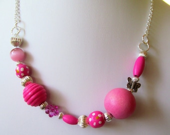 Butterfly and Hot Pink Wood Bead Silver Tone Necklace