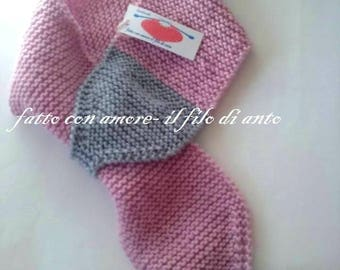 Pink and grey girl scarf in pure wool 100%