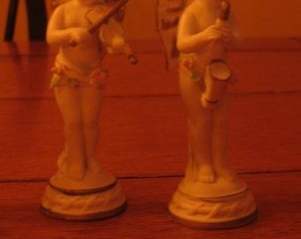 Napco Bisque Set of 6 Angel Cherub or Bisque Musical Figurines Instruments Church Angels Church Choir Church music