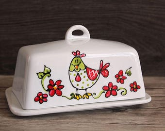 Red flower chicken ceramic butter dish