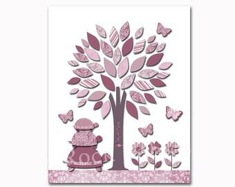 Rouge gris arbre pépinière décoration murale bébé fille chambre mur art enfants chambre mur pépinière impression décoration pour bébé fille enfants salle oeuvre