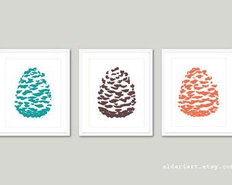 Pine Cone Art Prints / Pine cones Wall Art /  Pine Cone Prints / Pine cone Poster  / Pine Cone Woodland Decor / Aldari Art