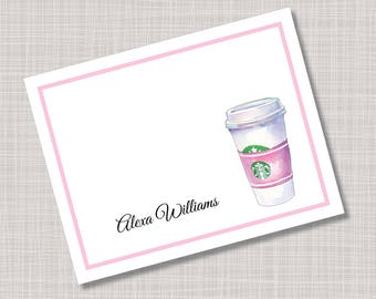 Custom Personalized Pink Latte Coffee Tea Cup Note Cards & Envelopes