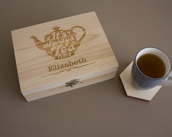 Personalised tea box. Engraved wooden tea caddy storage box. Perfect gift for all tea lovers L314