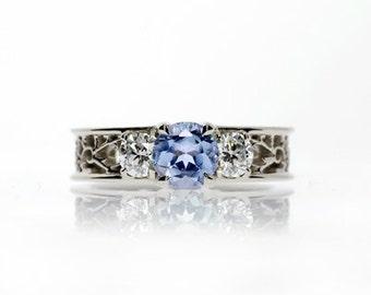Trilogie filigree ring with Light blue sapphire, diamond, filigree ring, engagement, lace, wedding ring, blue, sapphire engagement, unique