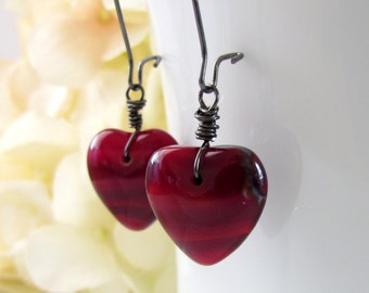 Heart Glass Earrings, Red Heart, Sweetheart Jewelry, Puffed Czech Glass, Gunmetal Elongated Earwires