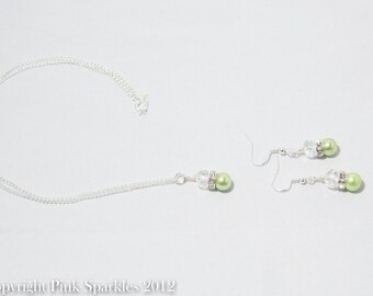 Green Pearl and Crystal Jewellery Set, Necklace and Earrings