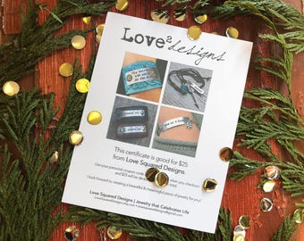 Gift certificate to Love Squared Designs