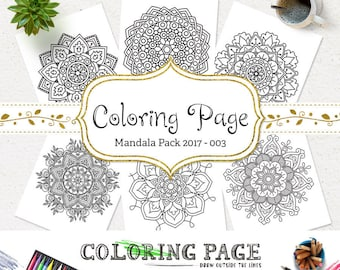 SALE Mandala Coloring Page Printable Floral Mandala Adult Coloring Book AntiStress Coloring Art Therapy Instant Download Digital Coloring