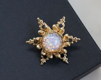 Vintage Small Fire Glass Opal Sunburst Brooch