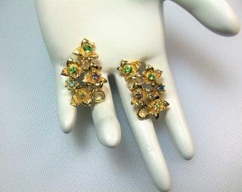 Vintage Gold Tone Floral Pastel Rhinestone Clip Earrings Designer Signed Coro