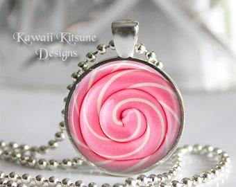 Candy Necklace, Cotton Candy Necklace, Lollipop Necklace, Pink, Baby Blue, Sugar Lollipop, Swirl pop, Lollipop Necklace, Lollipop Jewelry