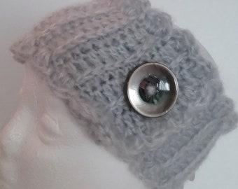 Gray Ribbed Headband Ear Warmer with Abalone Button