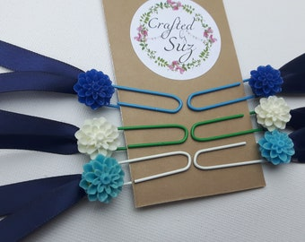 Flower paperclips, stationery, journal, notebook