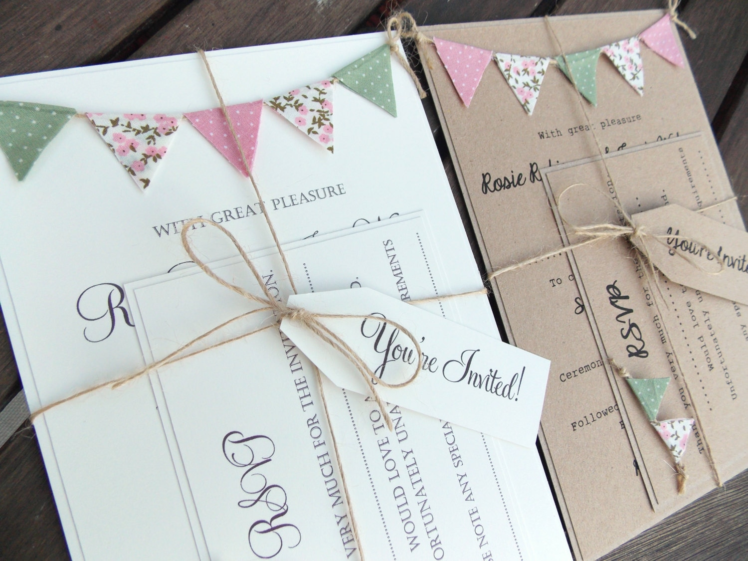 Rustic Wedding Invitation. Unique Bunting Invitation Country