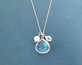 SILVER, Personalized, Birthstone color & Initial, Silver, Necklace, Birthday, Wedding, Best friends, Mom, Gift, Jewelry