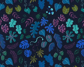 One Yard Cut - Leafy Wonder in Navy - Lagoon by Rashida Coleman-Hale for Cotton + Steel -  Quilters Cotton