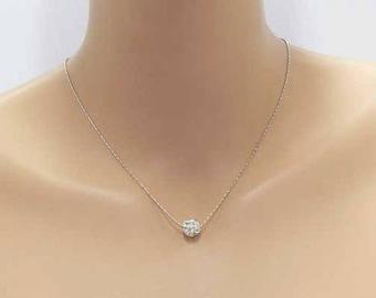 Free shipping silver necklace, Pearl rhinestone, fine chain