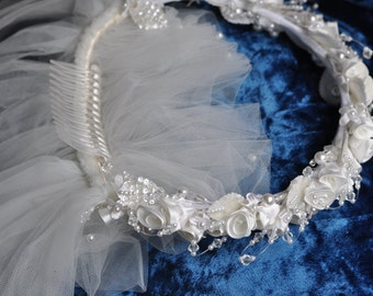 Vintage Veil. White. Floral. Crown. Ceremony. Flowers. Headband. Beading