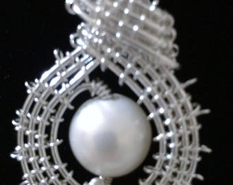 Fresh Water  Pearl in Handwoven Sterling Silver, Sterling Chain and S Hook Clasp