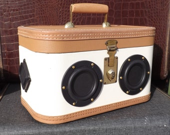 """SOLD Vintage Train Suitcase Boombox Portable MP3 Player Battery Powered """"AFTERNOON DELIGHT""""  by Hi-Fi Luggage"""
