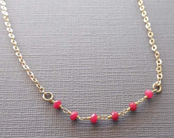 Dainty Ruby Chain Necklace / July Birthstone / Minimal Gemstone Chain / Genuine Ruby Necklace / Layering Ruby Necklace / Red Gold  // GS1