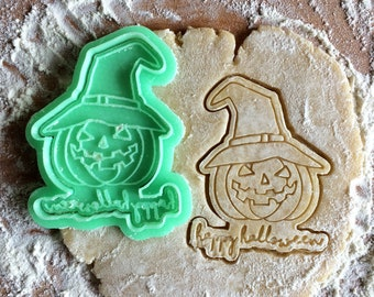 Jack-o'-Lantern Halloween cookie cutter. Pumpkin cookie stamp. Happy Halloween lettering cookies. Sweet table Halloween decor.
