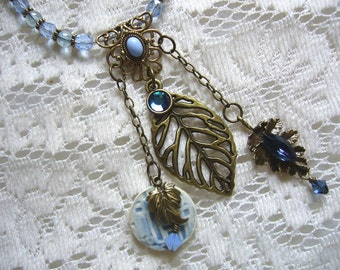 Love The Blues Brass And Ceramic Beaded Necklace