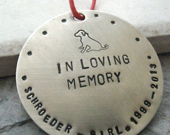 Personalized Pet Memorial Ornament, nickel silver, pets name and years lived around edge, 47 character max, please read listing