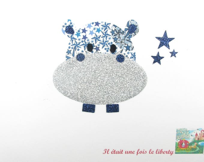 Applique fabric Hippo head fusing liberty Adelajda blue flex glitter Thermo liberty applique motif patch iron-on