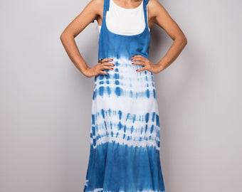 Strap Dress, Summer Dress, Hand Dyed Shibori Dress, Ocean Blue dress, festival dress, boho dress : Shibori Collection