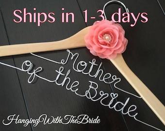 Mother of the bride hanger, Bridal gift, Mother's day gift, bridal hanger, bride gift, bridesmaids gift, custom wire hanger, Mother gift
