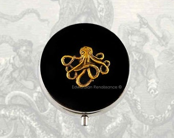 Octopus Round Metal Pill Box Inlaid in Hand Painted Enamel Neo Victorian Kraken Nautical Inspired Custom Colors and Personalized Options